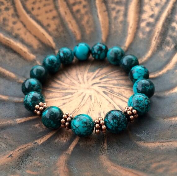 turquoise bracelet copper bracelet gemstone stretch