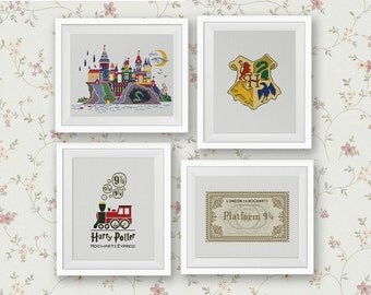 Set of 4 Patterns Hogwarts School of Witchcraft and Wizardry Cross Stitch Pattern Harry Potter Kit Counted Cross Stitch PDF Instant Download