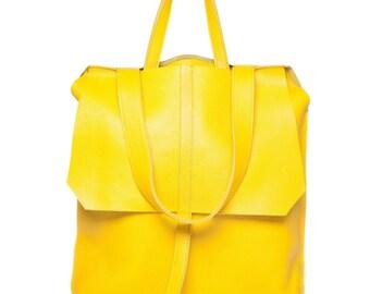 Yellow shoulder bag | Genuine leather tote bag