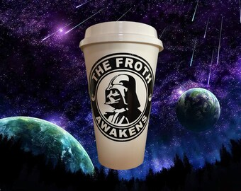 THE FROTH AWAKENS Star Wars Force Awakens Parody Coffee Travel Mug Darth Vadar Gift by StarTangledArts