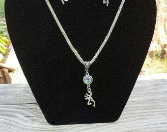 FREE SHIPPING 9MM Bullet Swarovski Birthstone Dangle Earrings And Necklace Set Deer