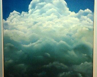 Original Cloud Painting, Clouds, Cloud Painting, Storm Clouds, Storm Cloud Painting,Puffy Clouds