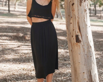50% OFF!!! Midi Gathered Skirt High Waist with elastic Waistband in Jersey cotton- Witch Collection