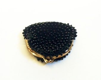Vintage Walborg Black Beaded Coin Purse
