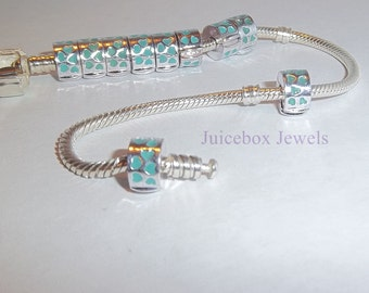 HEARTS Blue Clip and Lock Stopper Bead for European Charm Bracelets, Keeps bead from falling off, Clip onto end. Y24