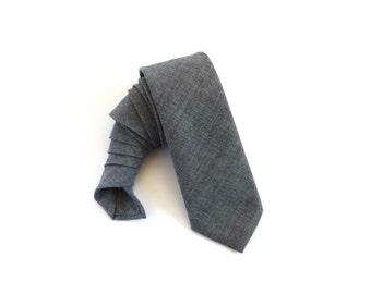 Mens Necktie - Grey Narrow Necktie with Grey Tip, Narrow Tie, Grey Necktie, Grey Tie, Mens Tie, Mens Necktie
