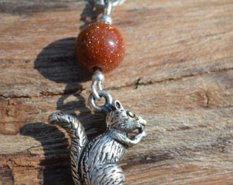 Autumn lover Gold stone With Squirrel Necklace