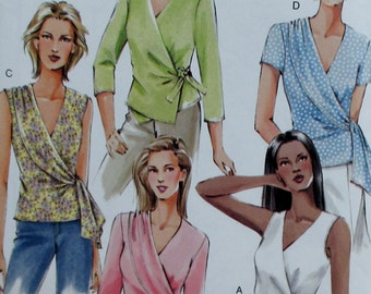 Vogue pattern, new, misses wrap blouse, top, deep v neck, sleeveless top, size 6, 8, 10