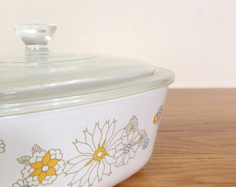 Corning Ware Floral Bouquet casserole dish with lid