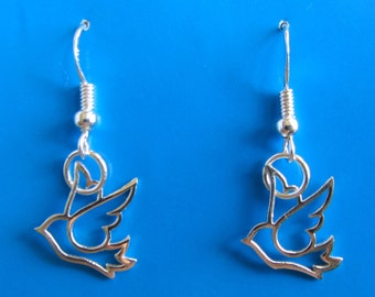 Sterling Silver Bird Dangle Earrings
