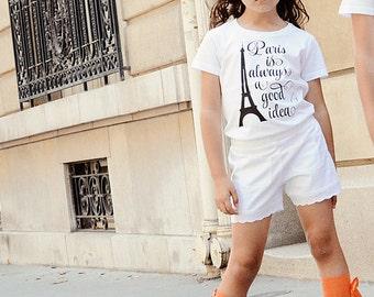 Girls Paris Shirt - Eiffel Tower Shirt  - Paris Outfit - Paris Girls Clothing - Paris Theme Birthday - Girls Gift Idea
