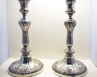 George III (1813) SHEFFIELD hallmarked Solid Sterling Silver English Antique GEORGIAN Candle Stick Holder Candlesticks. John Roberts & Co.