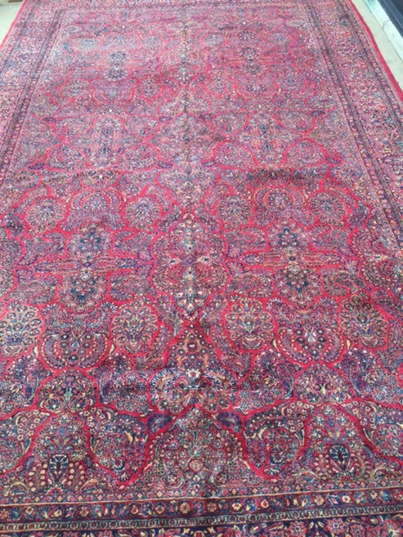 12' x 20' Antique Persian Sarouk Oriental Rug - 1920s - Hand Made - 100% Wool - Full Pile