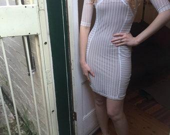 SALE Hot WHITE and TIGHT 90s Supermodel Mesh Mini Dress Wiggle Short Long Sheer Minidress Skirt