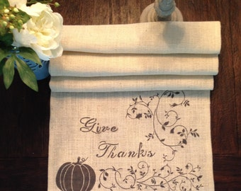 Give Thanks Burlap Table Runner