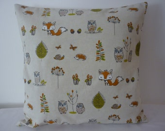Handmade Woodland animal design bead embellished cushion cover