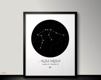 Aquarius zodiac art, Printable Aquarius art, Zodiac Aquarius constellation, Astrology art, Zodiac print art, Gift, Astrology print,Horoscope