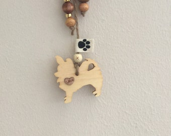 Lovely Wooden Rustic Heart with a wooden Long Haired Chihuahua, Shabby Chic, Unique, Personalised Dog Gift, Unusual fun present