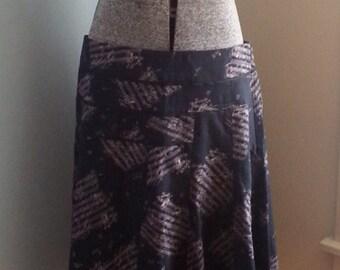 90s Navy Black Light Pink Music Sheet Print Cotton Skirt