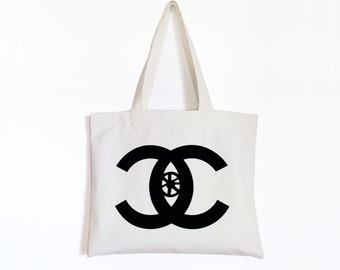 Watching you-Canvas tote bag-Homage to Chanel-Logo play