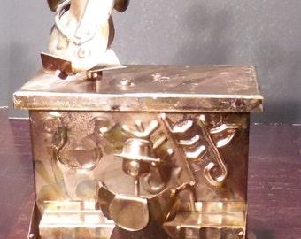 Vintage Handmade Copper  Piano Music Box