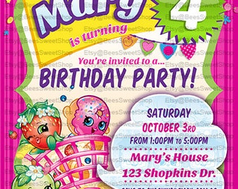 Shopkins Birthday Invitations Printable Digital File | Personalized