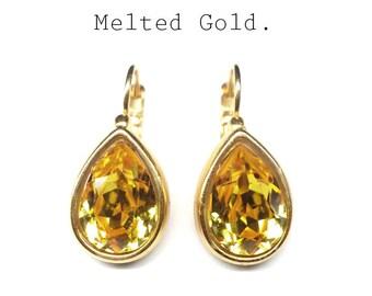 Yellow Swarovski earrings,pear-shaped earrings,gold plated crystal earrings,Swarovski drop earrings,gold plated eardrops,gift for girlfriend