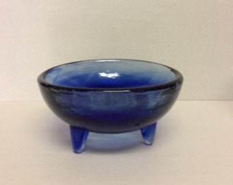 Bowl Cobalt Blue Three Legs