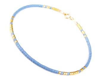 Thin Bracelet Something Blue Bracelet Dainty bracelet Blue Gold Wedding Bridesmaid Bracelets