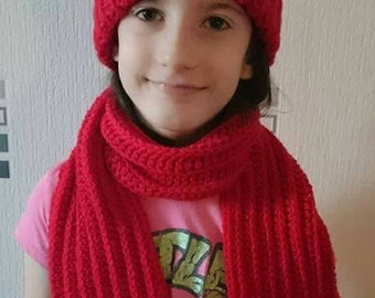 Children's Crochet Hat and Scarf Set