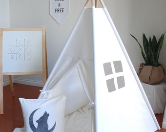 SALE - FREE SHIPPING / Ready to Ship, Medium White Canvas Teepee, Play Tent, Kids Teepee, Childrens Teepee, Teepee Tent, Playhouse, Nursery