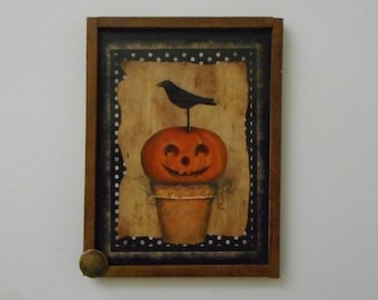 """MAGNET: Unique Halloween  Primitive Rustic 3"""" by 4"""" Framed  Magnet/Wall Hanging"""