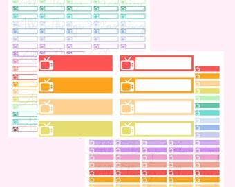 TV Label Box Set - Television - Printable Planner Sticker Planner Sticker Printable Digital Item Instant Download Erin Condren Life Planner