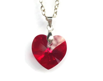 Swarovski Heart Necklace, Red Heart Crystal Pendant, Heart Pendant, Heart Jewelry, Swarovski Siam Crystal Jewelry, Silver Plated