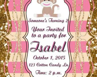 Pink sock monkey gold glitter birthday invitation