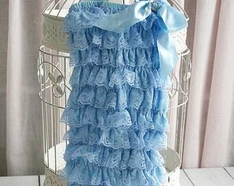 Blue Lace Romper, Baby Girl Romper, Petti Lace Romper, Newborn Romper, Toddler Romper, Photo Prop, Baby Blue Lace Romper Set