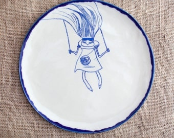 Set of 6 dinnerware - Custom handbuilt and handpainted ceramic plates