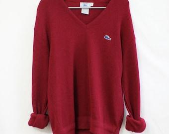Vintage Lacoste Cranberry V-Neck Sweater