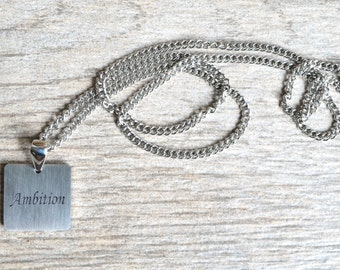 Ambition - Inspirational / Expressional Necklace Pendant Jewelry, Stainless Steel