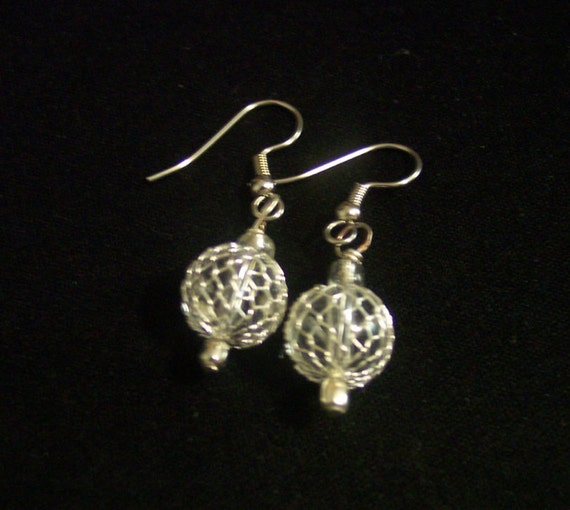 Clear bead with silver crochet wire earrings, beaded with mesh silver wire earrings, drop beaded earrings, clear chandelier beaded earrings