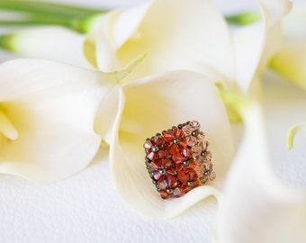 Peach Swarovski ring – square ring – unique Swarovski jewelery