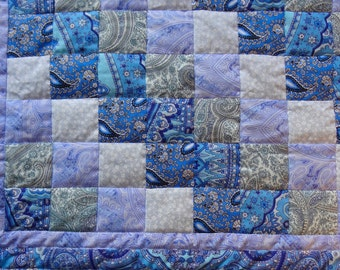 Quilt Patchwork blanket cover blue bargello handmade 55x66inches