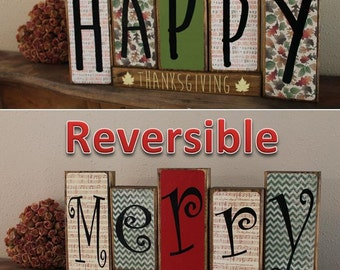 Happy Thanksgiving - Merry Christmas Reversible Blocks - Holiday Decor, Merry Christmas Blocks, Happy Thanksgiving Blocks, Goggins Creations
