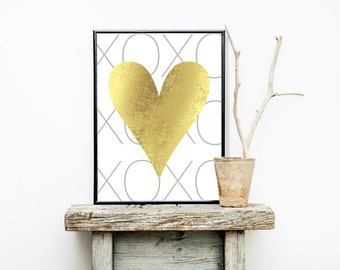 Gold Foil Hear XOXO Girlie Print 8x10 or 11x14  Matte Options