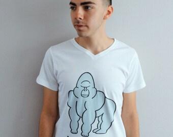 herbivore gorilla shirt - men's white v neck tee, organic cotton