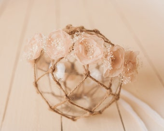 Chiffon Flowers and Baby's Breath Crown