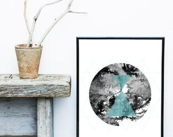 Abstract Art Print, Mid Century Modern, Circle Print, Art Print,  Scandinavian Print, Giclee print,  Wall Art, Large Print, Abstract Art