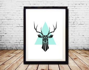 Geometric Wall Art Print Geometric Animal Print Stag Print Instant Download