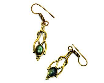 Brass Drop Earrings, Boho Earrings, Gemstone Earrings, Dangle Earrings, Labradorite Earrings, Blue Stone Earrings, Elegant Earrings