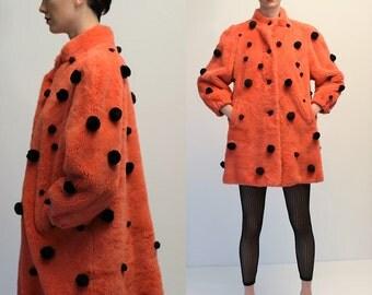 Vintage Pink Faux Fur Pompon Italian Coat
